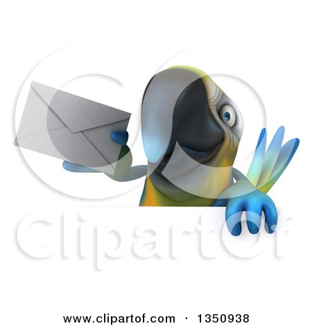 Clipart of a 3d Blue and Yellow Macaw Parrot Holding an Envelope over a Sign - Royalty Free Illustration by Julos