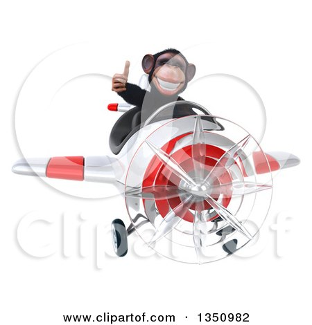 Clipart of a 3d Chimpanzee Monkey Aviator Pilot Giving a Thumb up and Flying a White and Red Airplane - Royalty Free Illustration by Julos