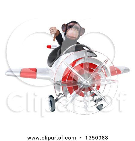 Clipart of a 3d Chimpanzee Monkey Aviator Pilot Giving a Thumb down and Flying a White and Red Airplane - Royalty Free Illustration by Julos