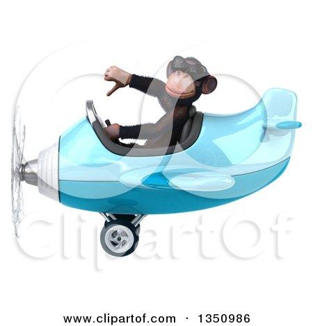 Clipart of a 3d Chimpanzee Monkey Aviator Pilot Wearing Sunglasses, Giving a Thumb down and Flying a Blue Airplane to the Left - Royalty Free Illustration by Julos