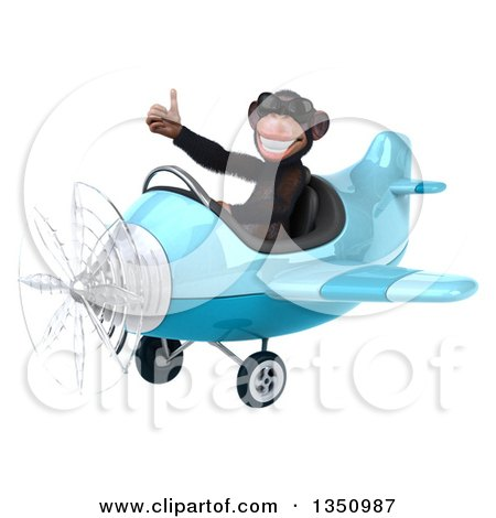Clipart of a 3d Chimpanzee Monkey Aviator Pilot Wearing Sunglasses, Giving a Thumb up and Flying a Blue Airplane to the Left - Royalty Free Illustration by Julos