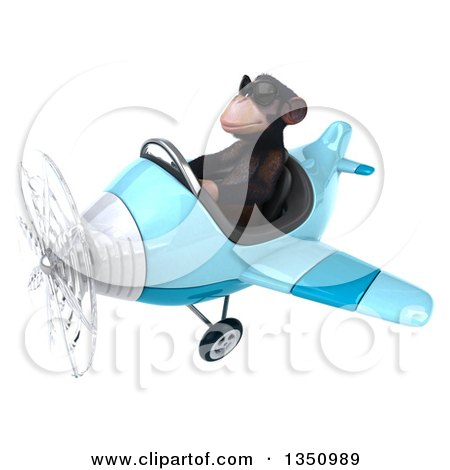 Clipart of a 3d Chimpanzee Monkey Aviator Pilot Wearing Sunglasses and Flying a Blue Airplane to the Left - Royalty Free Illustration by Julos