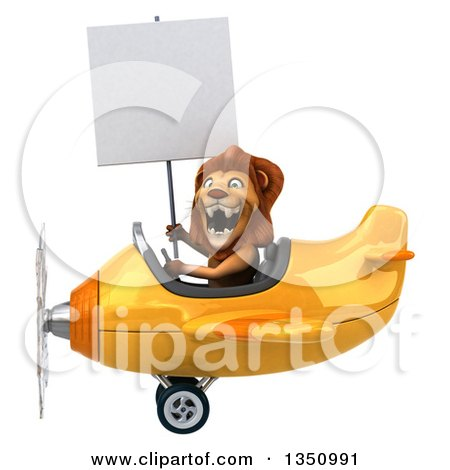 Clipart of a 3d Male Lion Aviator Pilot Holding a Blank Sign and Flying a Yellow Airplane to the Left - Royalty Free Illustration by Julos