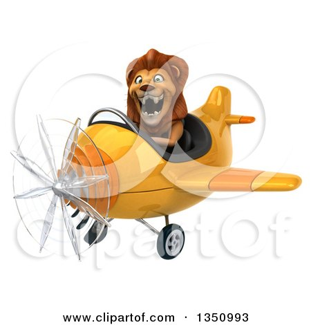 Clipart of a 3d Male Lion Aviator Pilot Flying a Yellow Airplane to the Left - Royalty Free Illustration by Julos