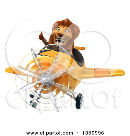Clipart of a 3d Male Lion Aviator Pilot Giving a Thumb up and Flying a Yellow Airplane - Royalty Free Illustration by Julos