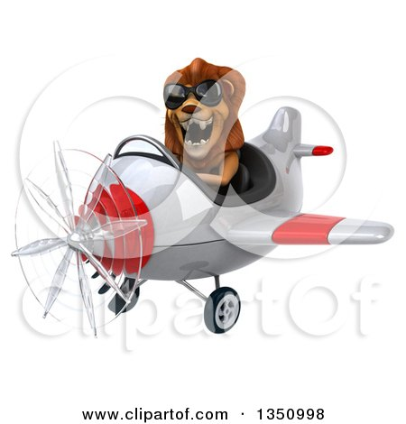 Clipart of a 3d Male Lion Aviator Pilot Wearing Sunglasses and Flying a White and Red Airplane to the Left - Royalty Free Illustration by Julos