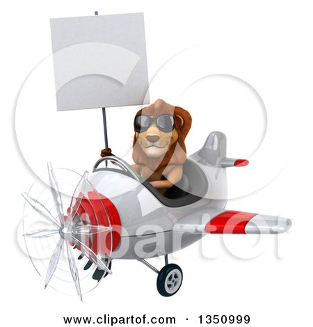 Clipart of a 3d Male Lion Aviator Pilot Wearing Sunglasses, Holding a Blank Sign and Flying a White and Red Airplane to the Left - Royalty Free Illustration by Julos