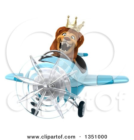 Clipart of a 3d Male Lion King Aviator Pilot Flying a Blue Airplane - Royalty Free Illustration by Julos