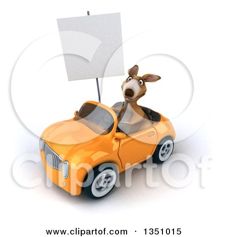 Clipart of a 3d Kangaroo Holding a Blank Sign and Driving an Orange Convertible Car to the Left - Royalty Free Illustration by Julos