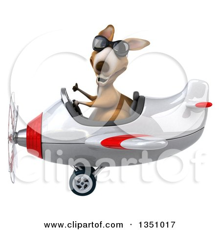 Clipart of a 3d Kangaroo Aviator Pilot Wearing Sunglasses, Giving a Thumb up and Flying a White and Red Airplane to the Left - Royalty Free Illustration by Julos
