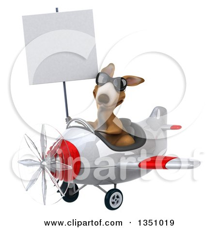 Clipart of a 3d Kangaroo Aviator Pilot Wearing Sunglasses, Holding a Blank Sign and Flying a White and Red Airplane to the Left - Royalty Free Illustration by Julos