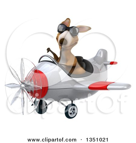 Clipart of a 3d Kangaroo Aviator Pilot Wearing Sunglasses, Giving a Thumb down and Flying a White and Red Airplane to the Left - Royalty Free Illustration by Julos