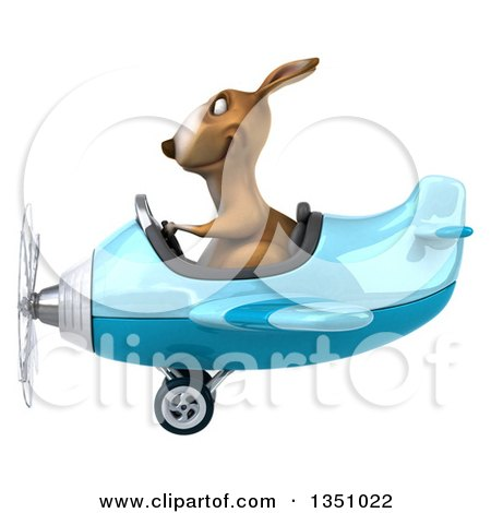 Clipart of a 3d Kangaroo Aviator Pilot Flying a Blue Airplane to the Left - Royalty Free Illustration by Julos
