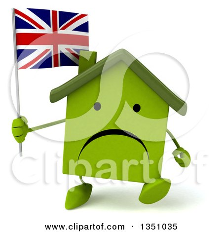 Clipart of a 3d Unhappy Green Home Character Holding a British Union Jack Flag and Walking - Royalty Free Illustration by Julos