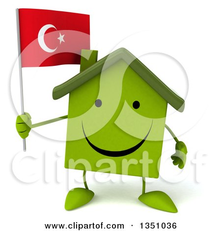 Clipart of a 3d Happy Green Home Character Holding a Turkish Flag - Royalty Free Illustration by Julos