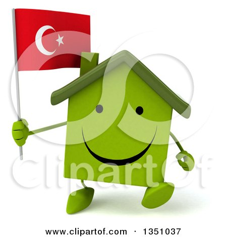 Clipart of a 3d Happy Green Home Character Holding a Turkish Flag and Walking - Royalty Free Illustration by Julos