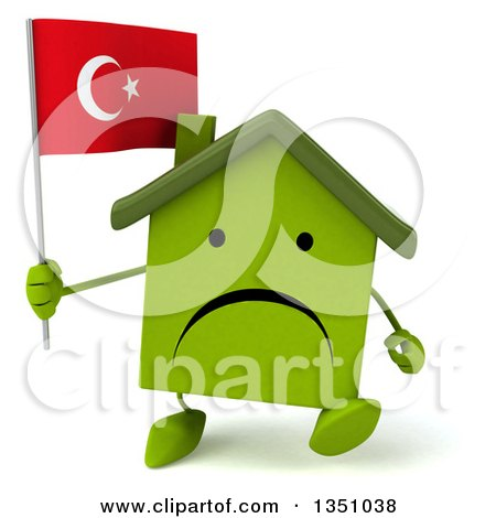 Clipart of a 3d Unhappy Green Home Character Holding a Turkish Flag and Walking - Royalty Free Illustration by Julos