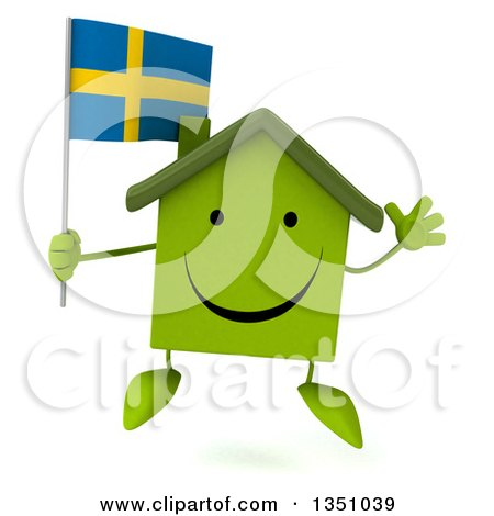 Clipart of a 3d Happy Green Home Character Holding a Swedish Flag and Jumping - Royalty Free Illustration by Julos