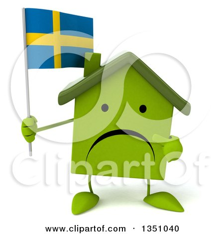 Clipart of a 3d Unhappy Green Home Character Holding and Pointing to a Swedish Flag - Royalty Free Illustration by Julos