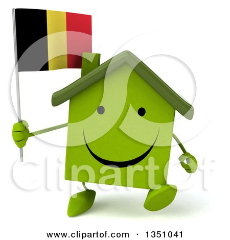 Clipart of a 3d Happy Green Home Character Holding a Belgian Flag and Walking - Royalty Free Illustration by Julos