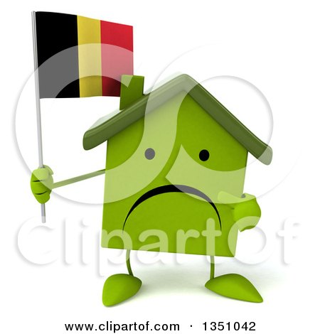 Clipart of a 3d Unhappy Green Home Character Holding and Pointing to a Belgian Flag - Royalty Free Illustration by Julos