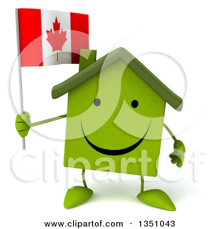 Clipart of a 3d Happy Green Home Character Holding a Canadian Flag - Royalty Free Illustration by Julos