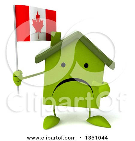 Clipart of a 3d Unhappy Green Home Character Holding and Pointing to a Canadian Flag - Royalty Free Illustration by Julos