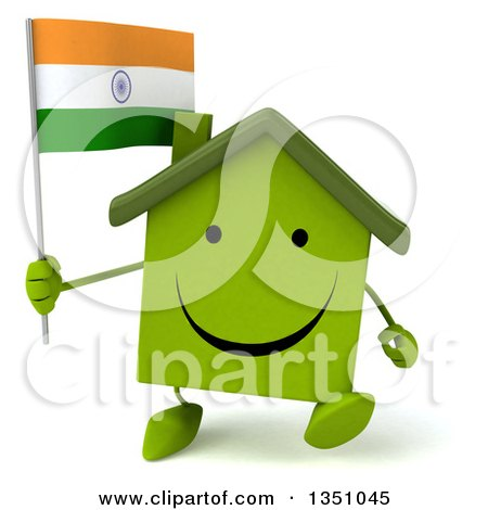 Clipart of a 3d Happy Green Home Character Holding an Indian Flag and Walking - Royalty Free Illustration by Julos