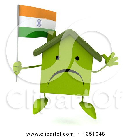 Clipart of a 3d Unhappy Green Home Character Holding an Indian Flag and Jumping - Royalty Free Illustration by Julos