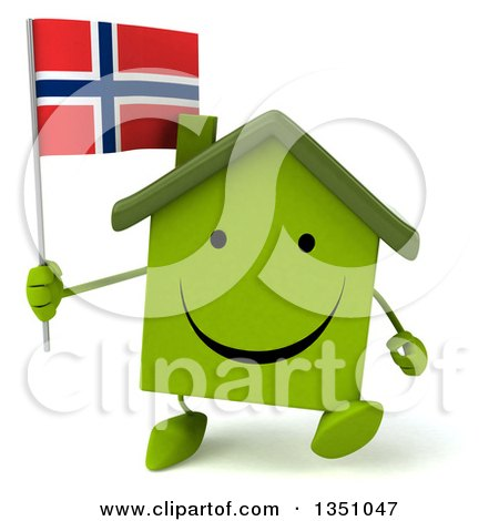 Clipart of a 3d Happy Green Home Character Holding a Norwegian Flag and Walking - Royalty Free Illustration by Julos