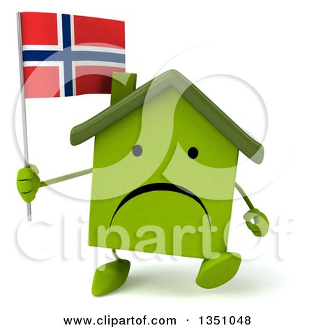 Clipart of a 3d Unhappy Green Home Character Holding a Norwegian Flag and Walking - Royalty Free Illustration by Julos