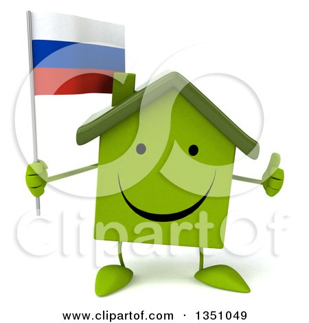 Clipart of a 3d Happy Green Home Character Holding a Russian Flag and Giving a Thumb up - Royalty Free Illustration by Julos