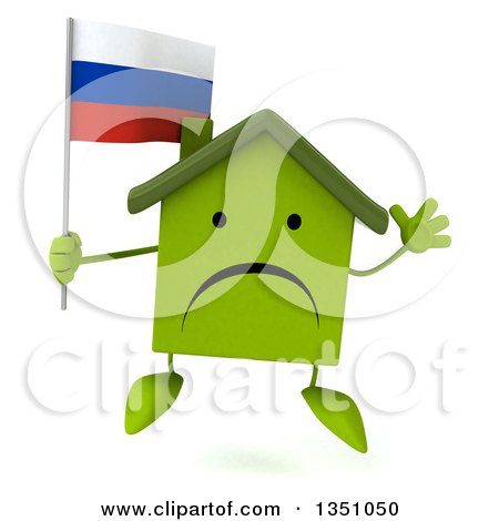 Clipart of a 3d Unhappy Green Home Character Holding a Russian Flag and Jumping - Royalty Free Illustration by Julos