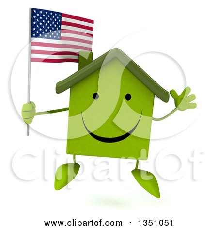 Clipart of a 3d Happy Green Home Character Holding an American Flag and Jumping - Royalty Free Illustration by Julos