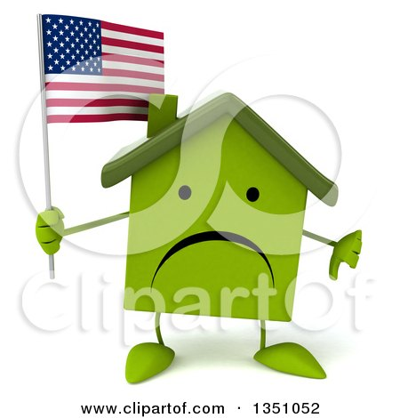 Clipart of a 3d Unhappy Green Home Character Holding an American Flag and Giving a Thumb down - Royalty Free Illustration by Julos
