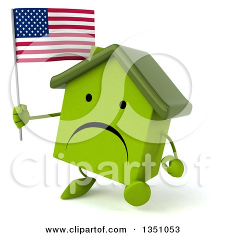 Clipart of a 3d Unhappy Green Home Character Holding an American Flag and Walking - Royalty Free Illustration by Julos