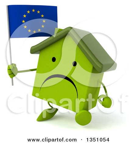 Clipart of a 3d Unhappy Green Home Character Holding a European Flag and Walking - Royalty Free Illustration by Julos
