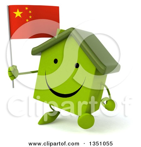 Clipart of a 3d Happy Green Home Character Holding a Chinese Flag and Walking - Royalty Free Illustration by Julos