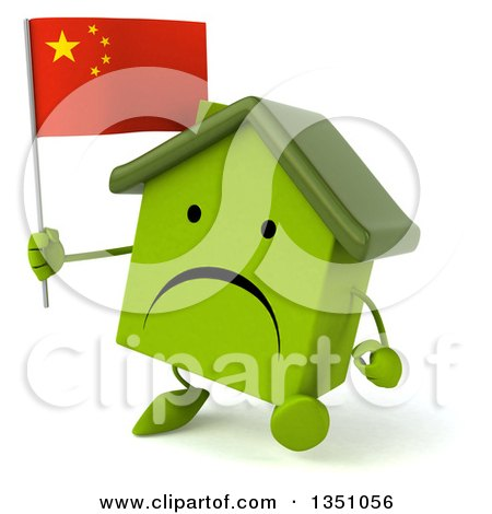 Clipart of a 3d Unhappy Green Home Character Holding a Chinese Flag and Walking - Royalty Free Illustration by Julos