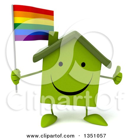 Clipart of a 3d Happy Green Home Character Holding a Rainbow Flag and Giving a Thumb up - Royalty Free Illustration by Julos