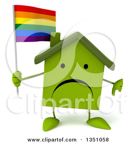 Clipart of a 3d Unhappy Green Home Character Holding a Rainbow Flag and Giving a Thumb down - Royalty Free Illustration by Julos
