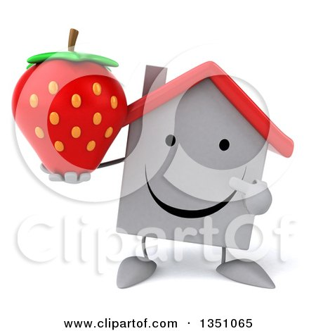 Clipart of a 3d Happy White House Character Holding and Pointing to a Strawberry - Royalty Free Illustration by Julos