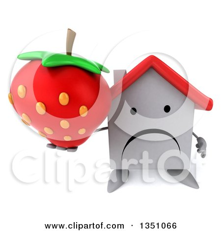 Clipart of a 3d Unhappy White House Character Holding up a Strawberry - Royalty Free Illustration by Julos
