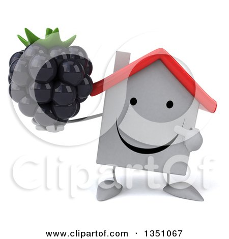 Clipart of a 3d Happy White House Character Holding and Pointing to a Blackberry - Royalty Free Illustration by Julos