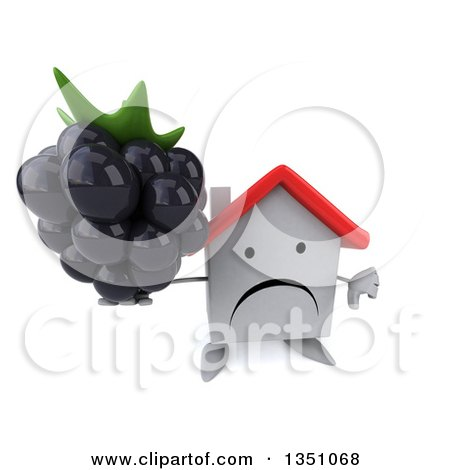 Clipart of a 3d Unhappy White House Character Holding up a Blackberry and Thumb down - Royalty Free Illustration by Julos