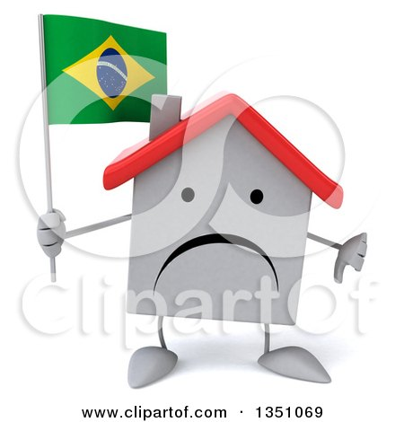 Clipart of a 3d Unhappy White House Character Holding a Brazilian Flag and Giving a Thumb down - Royalty Free Illustration by Julos