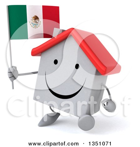Clipart of a 3d Happy White House Character Holding a Mexican Flag and Walking - Royalty Free Illustration by Julos