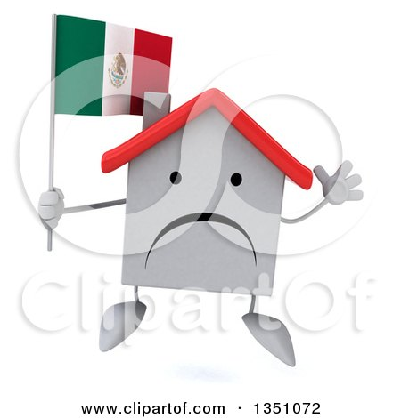 Clipart of a 3d Unhappy White House Character Holding a Mexican Flag and Jumping - Royalty Free Illustration by Julos