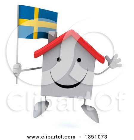 Clipart of a 3d Happy White House Character Holding a Swedish Flag and Jumping - Royalty Free Illustration by Julos