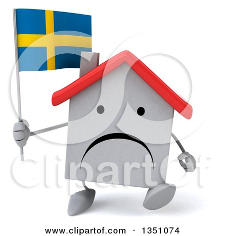 Clipart of a 3d Unhappy White House Character Holding a Swedish Flag and Walking - Royalty Free Illustration by Julos